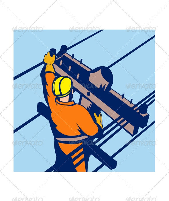Power Lineman Telephone Repairman Electrician - Industries Business