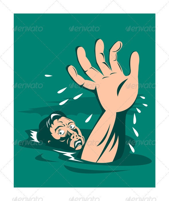 Man Reaching for Help Drowning - People Characters
