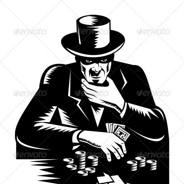 Poker Player Gambler Gambling Retro