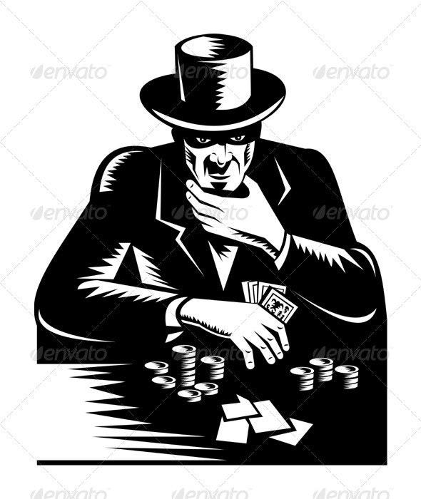 Poker Player Gambler Gambling Retro  - People Characters