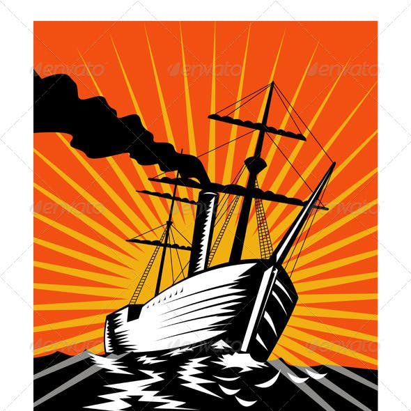 Sailing Ship Retro Woodcut