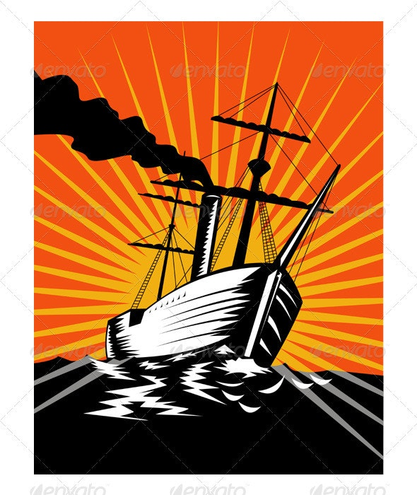 Sailing Ship Retro Woodcut - Man-made Objects Objects