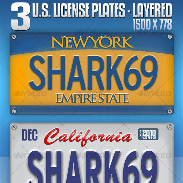 3 U.S. License Plates - Layered