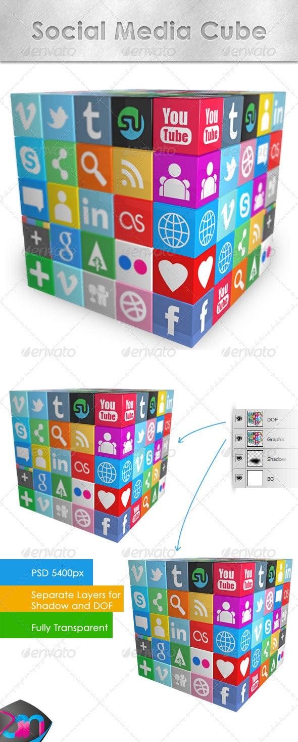 Social Media Cube - Objects 3D Renders