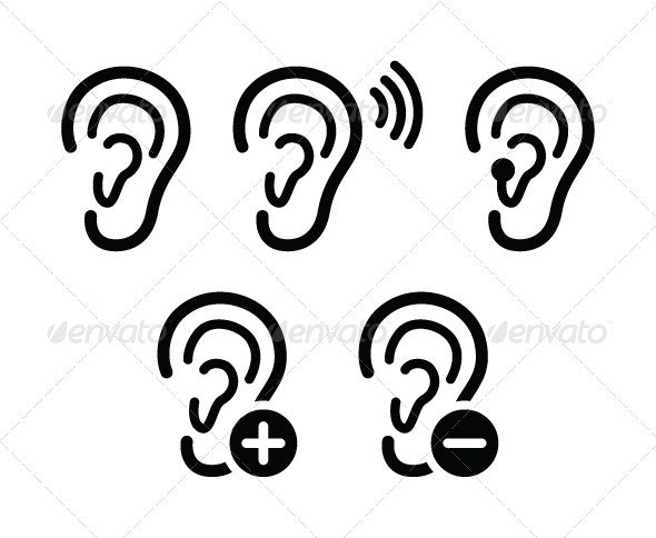 Ear hearing aid deaf problem icons set - People Characters