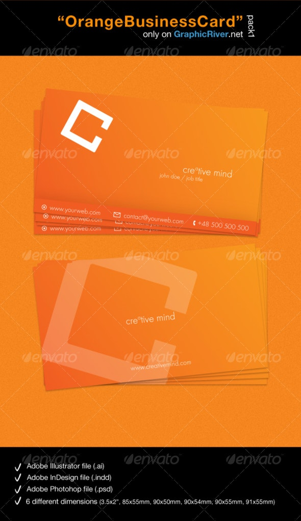 Orange Business Card - pack 1 - Corporate Business Cards