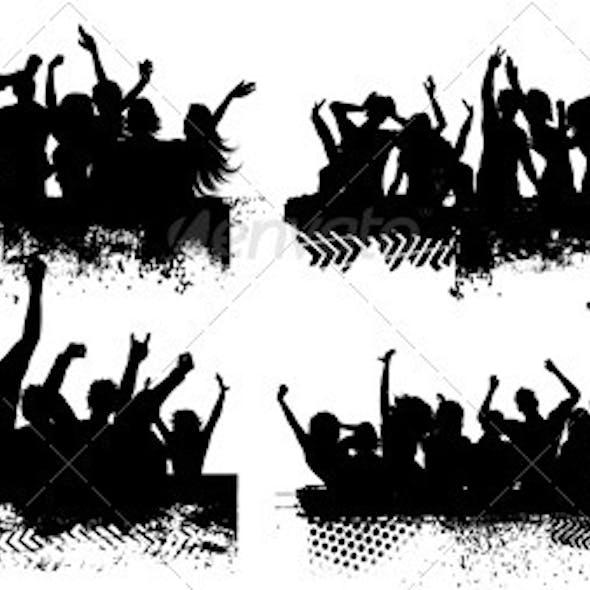 Grunge crowd scenes