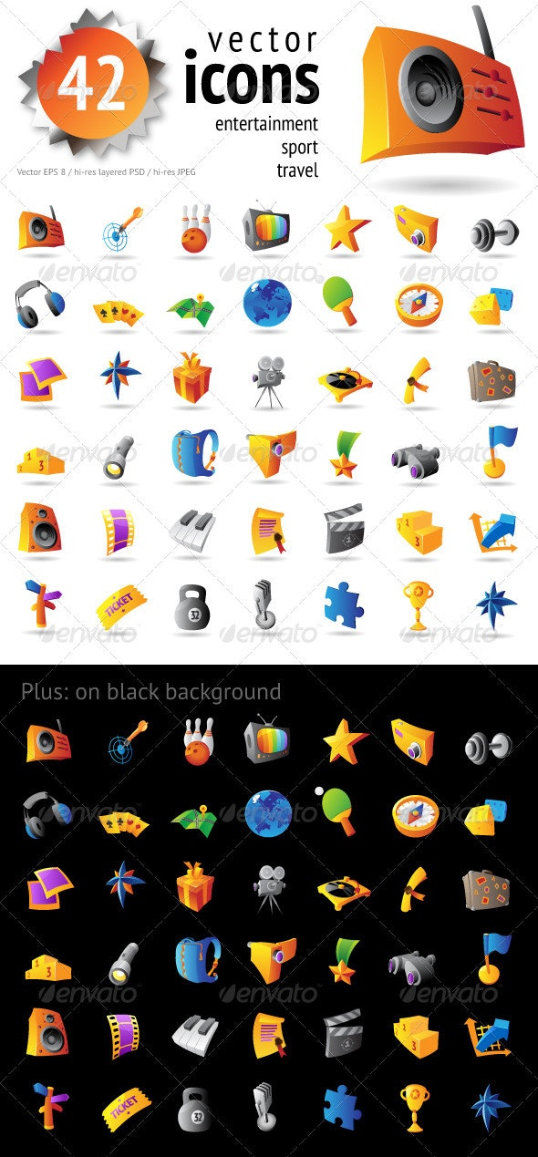 42 Icons For Leisure And Entertainment - Miscellaneous Icons