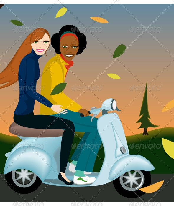 Friends Ridding Scooter  - People Characters