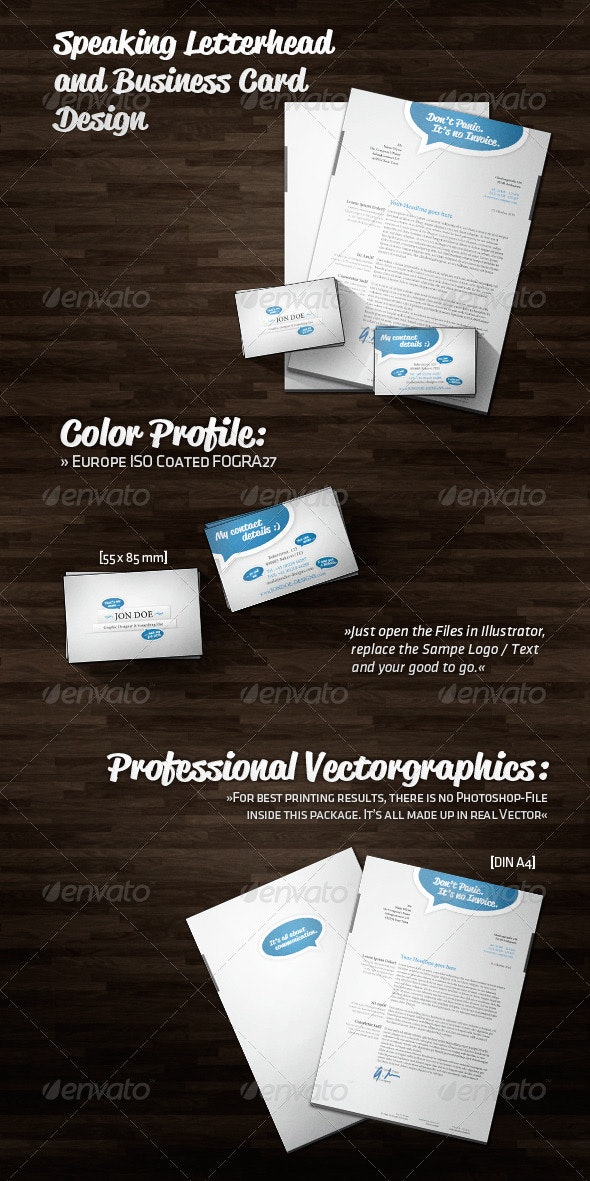 Speaking Letterhead and Business Card Design - Stationery Print Templates