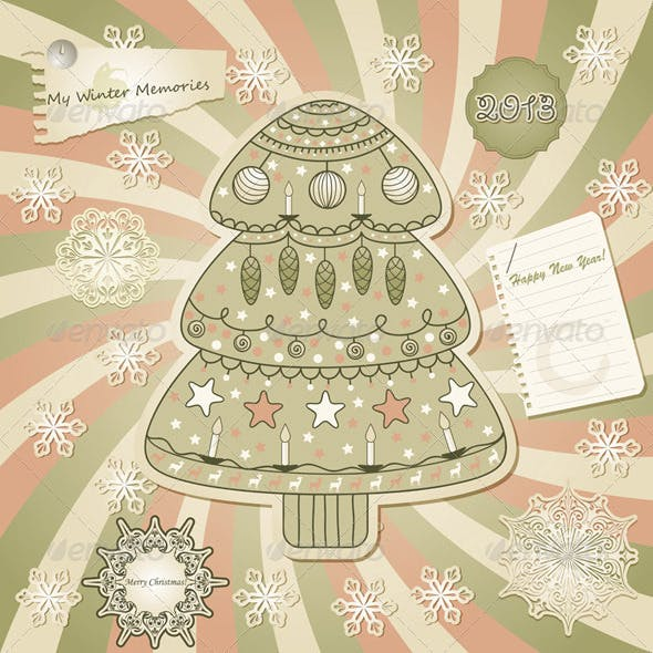 Vector  Greeting Card with Fir Tree, Scrapbook Sty