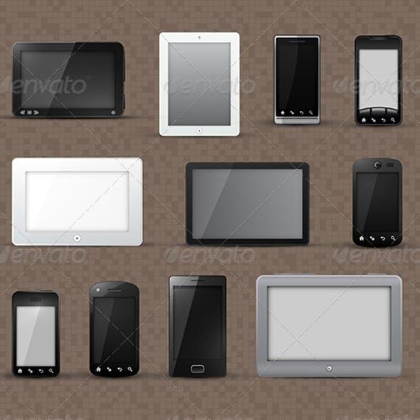 Tablet Devices and Smart Phone Icons
