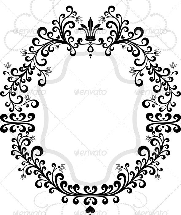 Frame of Flourishes Ornament with Crown.  - Flourishes / Swirls Decorative