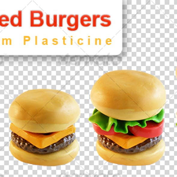 4 Burgers (isolated plasticine objects)