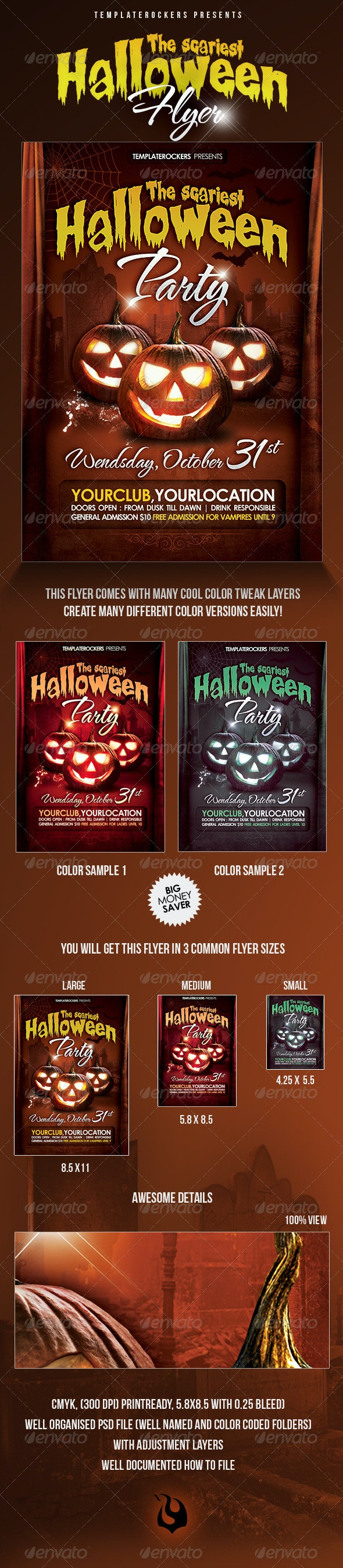 Scariest Halloween Party Flyer - 3 Sizes - Clubs & Parties Events