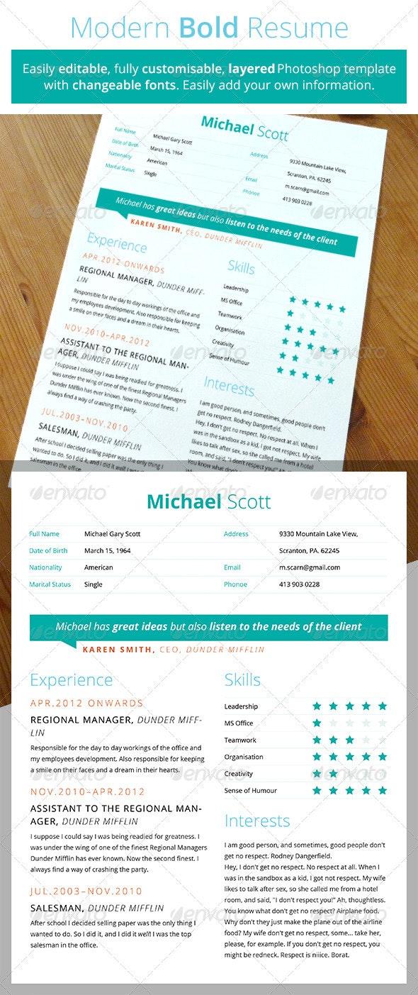 Modern Bold Resume - Resumes Stationery