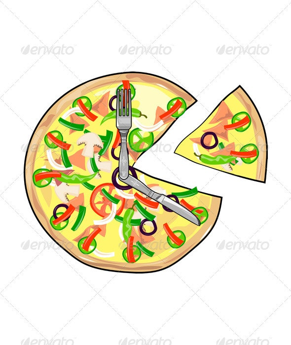 Pizza Pie Clock - Food Objects