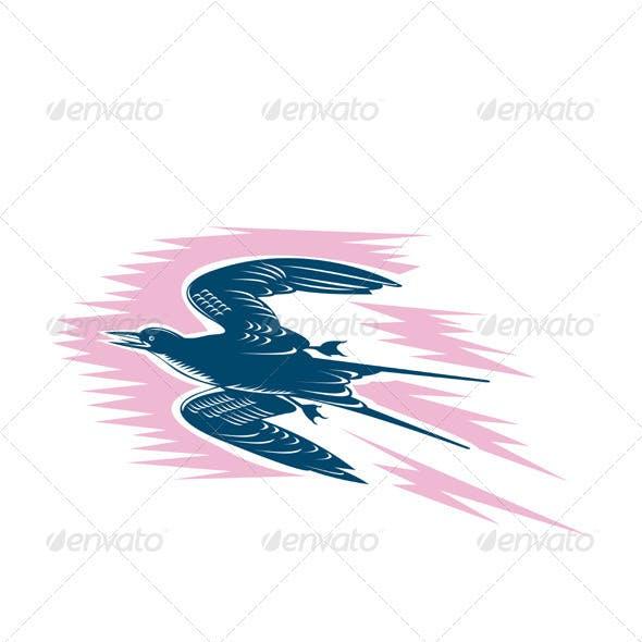 Tern Flying Woodcut