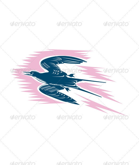 Tern Flying Woodcut - Animals Characters
