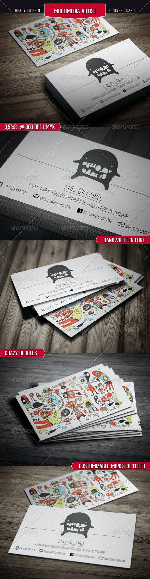 Multimedia Artist Business Card - Creative Business Cards