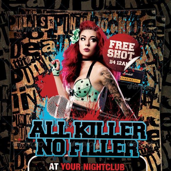 All Killer No Filler Punk Rock Flyer / Poster