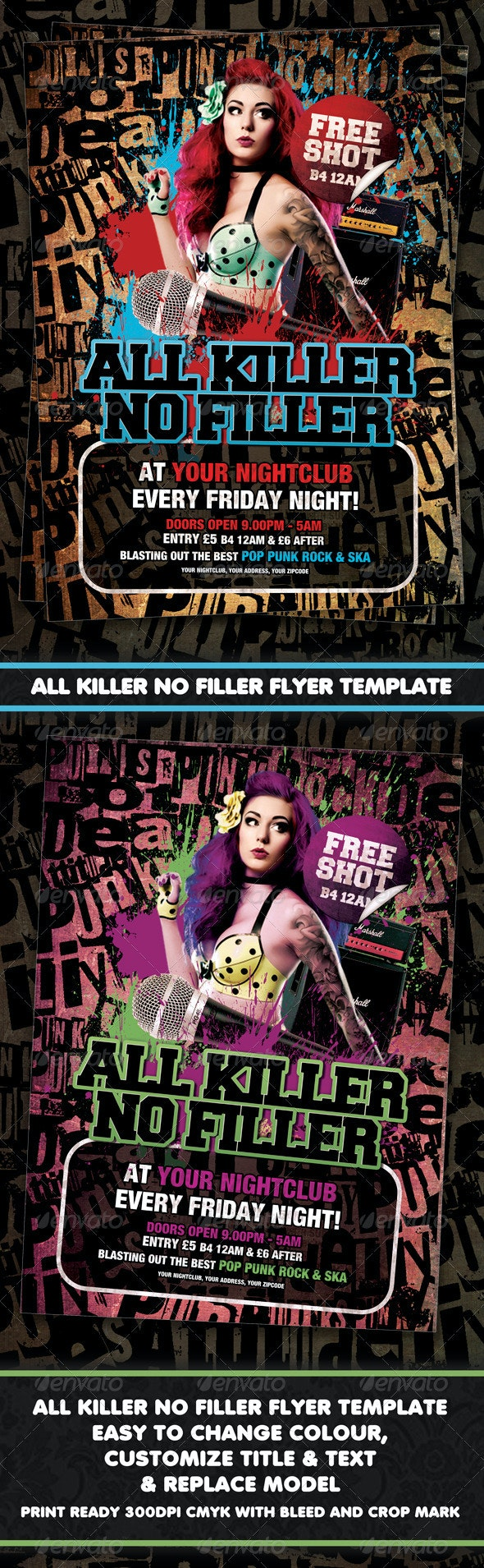 All Killer No Filler Punk Rock Flyer / Poster - Clubs & Parties Events