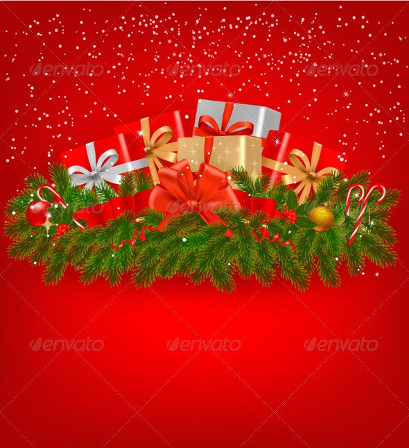 Christmas background with presents and a ribbons - Christmas Seasons/Holidays