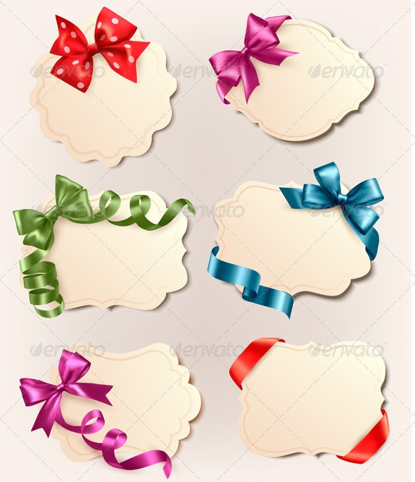 Set of Retro Labels with Red Gift Bows and Ribbons - Christmas Seasons/Holidays