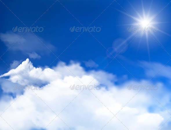 Blue sky with clouds and sun background - Seasons Nature