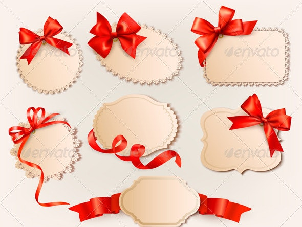 Collection of vintage labels with a red gift bows  - Christmas Seasons/Holidays