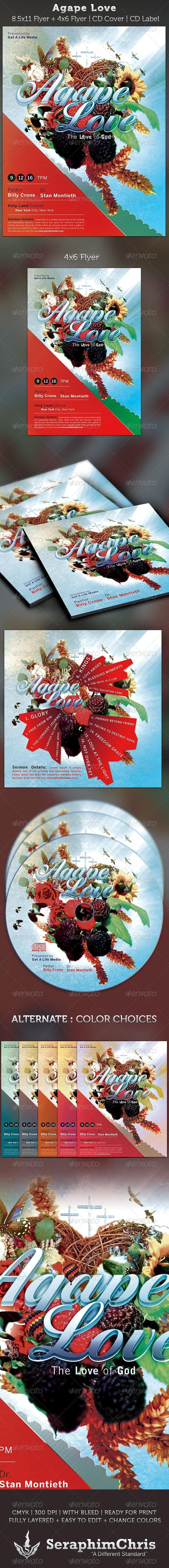 Agape Love Church Flyer and CD Art Template - Church Flyers