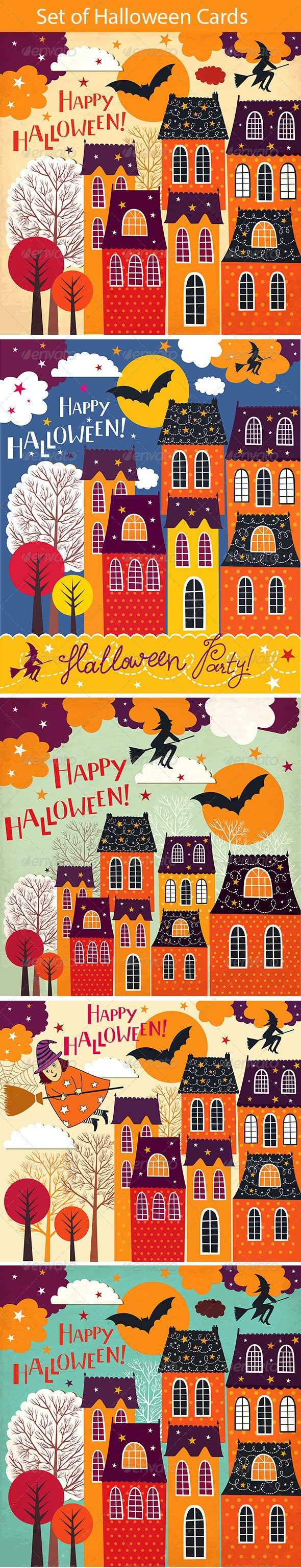 Set of Halloween holiday cards - Halloween Seasons/Holidays