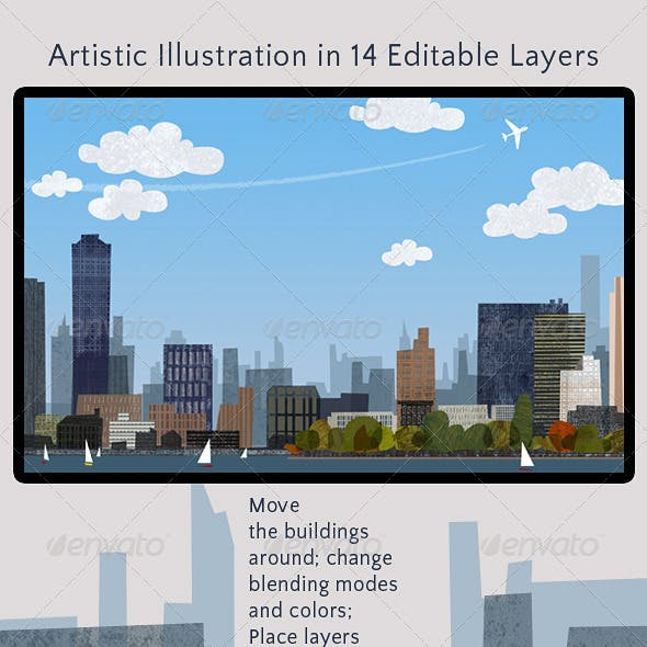 City Skyline; Artistic Modern Design Illustration