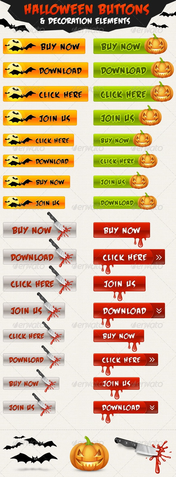 Halloween Buttons and Symbols - Buttons Web Elements