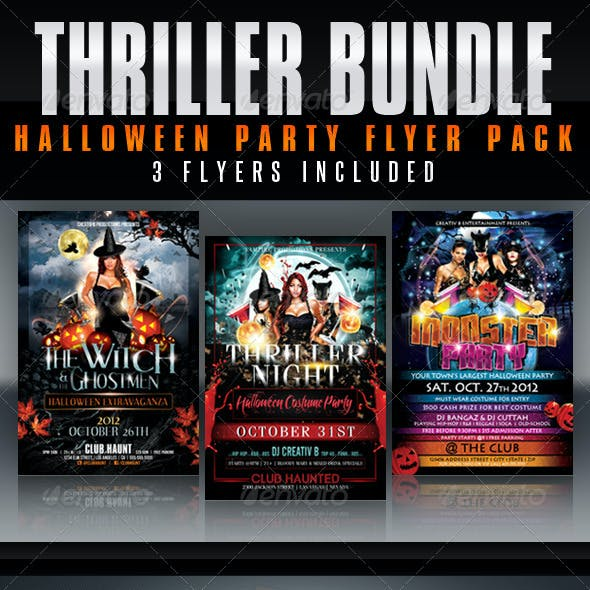 Thriller Halloween Party Flyer Bundle