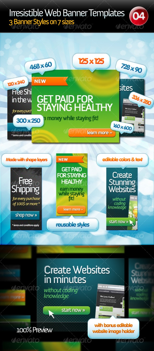 Irresistible Web Banner Templates 04 - Miscellaneous Graphics