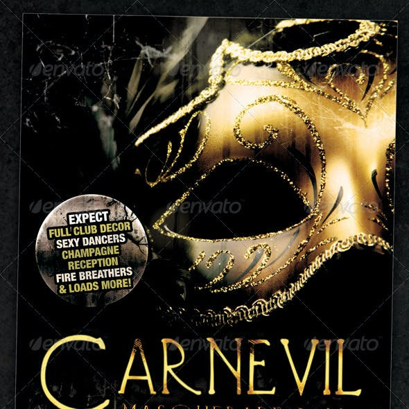 Carnevil Masquerade Ball Flyer Or Event Poster