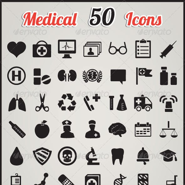Set of 50 medical icons for design