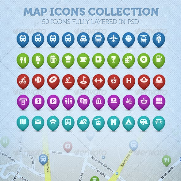50 Map Icons Collection