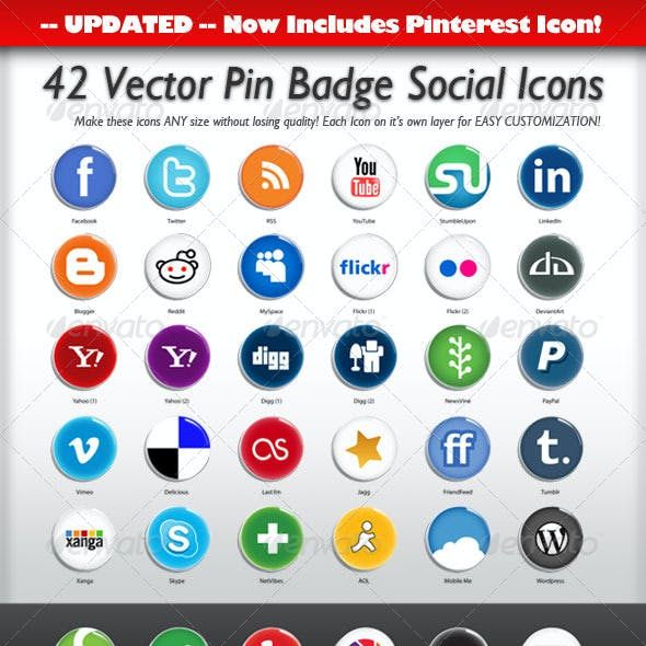 42 Vector Pin Badge Social Icons
