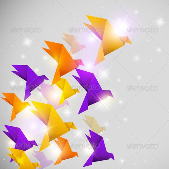 Abstract Background with Origami Birds