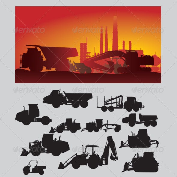 Construction Vehicles Silhouette