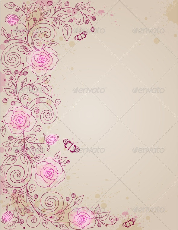 Floral Background with Rose and Butterflies - Backgrounds Decorative