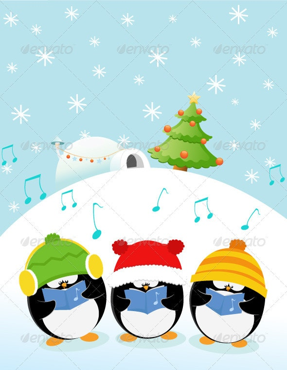 Caroler Penguins - Christmas Seasons/Holidays