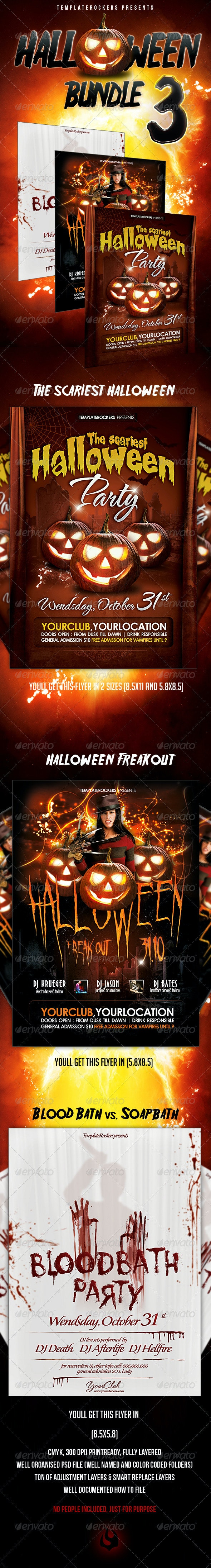 Halloween Party Flyer Bundle 3 - Clubs & Parties Events