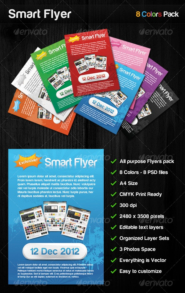 Smart Flyer 8 Colors All purpose flyers pack - Commerce Flyers