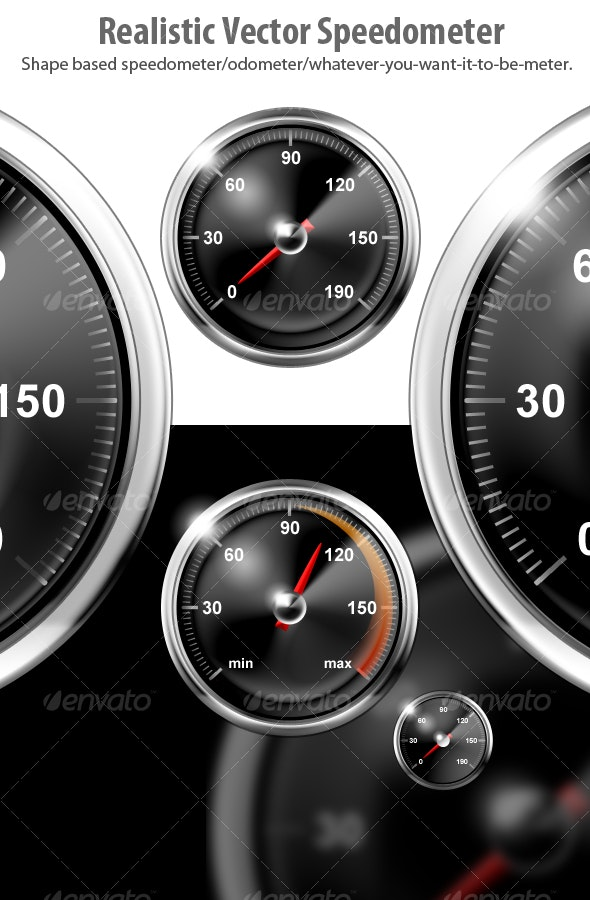 Realistic Vector Speedometers - Objects Illustrations