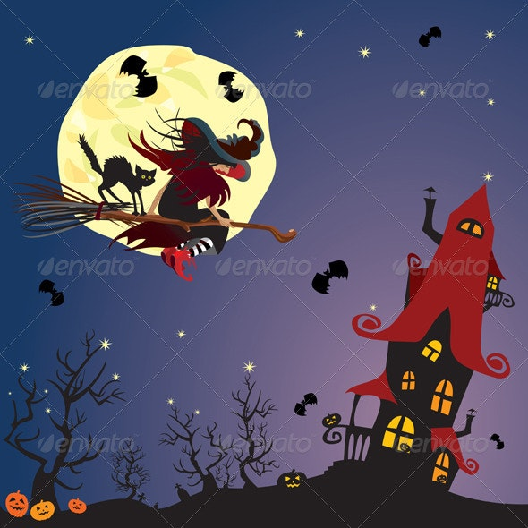 Witch and black cat flying on bro - Halloween Seasons/Holidays