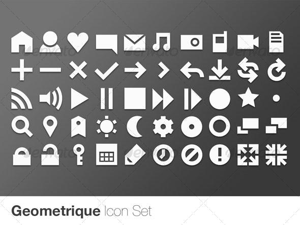 Geometrique Icon Set (50 Vector Icons) - Web Icons