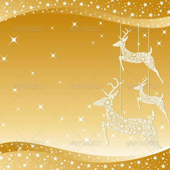 Golden Christmas Deer Greeting Card - Christmas Seasons/Holidays